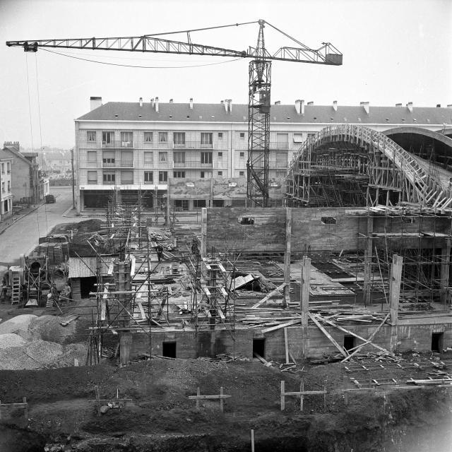 Photo historique construction des halles de Saint-Nazaire