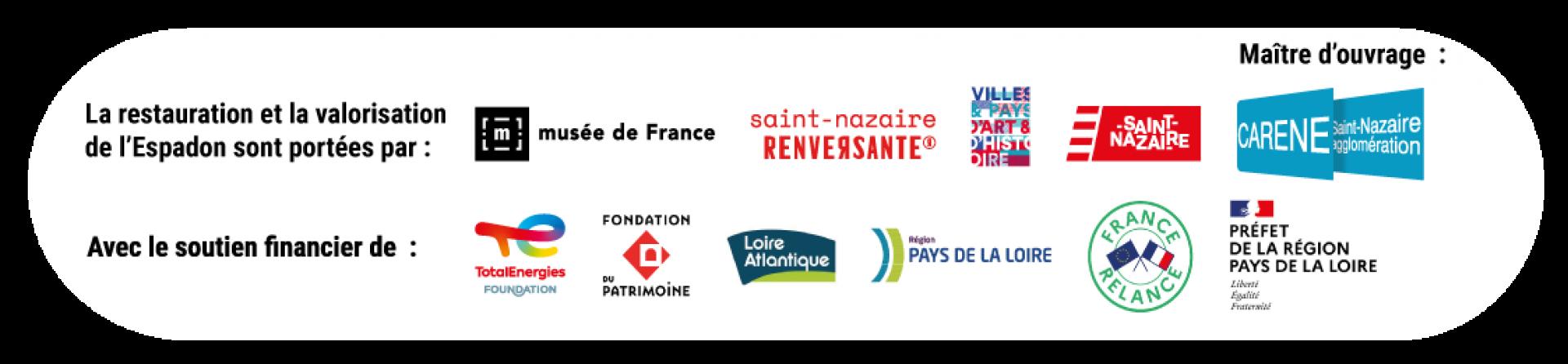 Logos partenaires du chantier de restauration du sous-marin Espadon